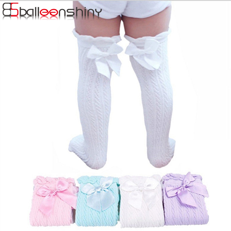 BalleenShiny Sweet Bowknot Knee High Socks Children Girls Princess Cotton Long Socks Baby Fashion Soft Warm Socks For 0-9 Years