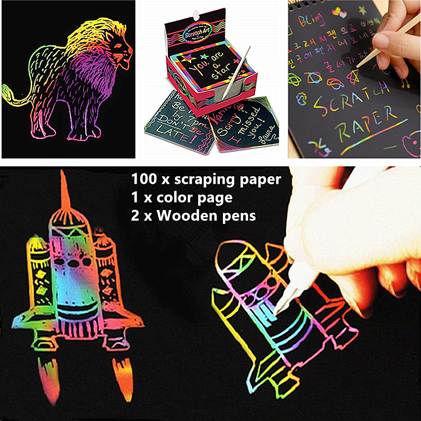 100pcs Magic Color Rainbow Scratch Paper Scraping Painting Note Book Kid Doodle Black Diy Drawing Toys