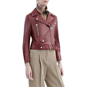 Image 5 - Jaqueta de couro genuíno feminino senhoras clássico real cordeiro shkin casaco outono real pele carneiro jaquetas de couro feminino com cinto
