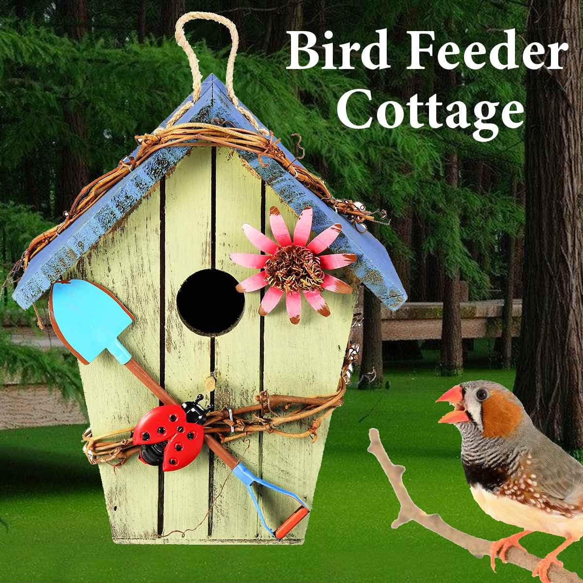 Wild Bird Feeder Outdoor Bird Feeders Food Container Hanging Gazebo Blue House Shape Bird Feeder ...