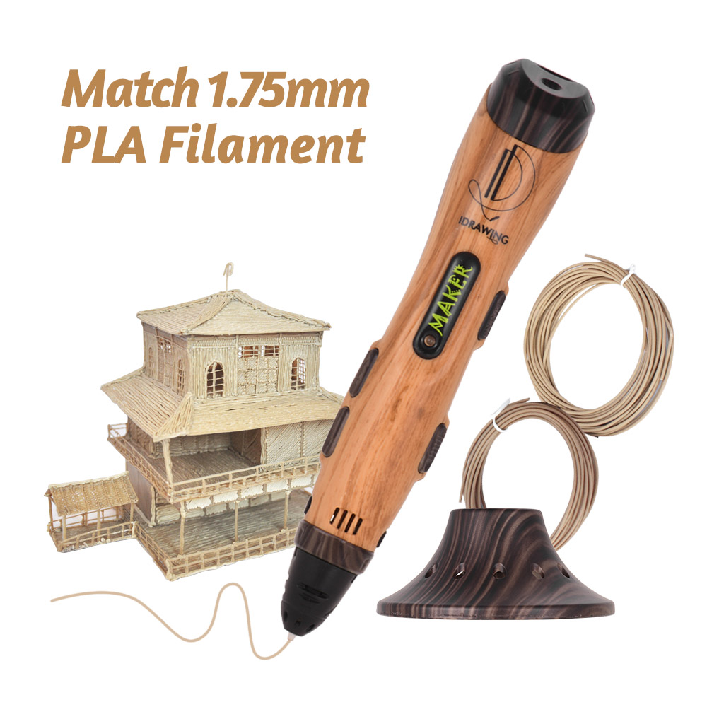 Pen Pen-Guard Drawing-Pen Filament 3d-Printing Intelligent with And Usb-Cable Bonus Wood-Color