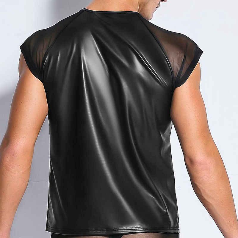 Ropa Interior Negra Sexy de malla transparente para hombre, ropa interior de piel sintética PU para hombre, camiseta Gay Wetlook, ropa para Club, camiseta erótica