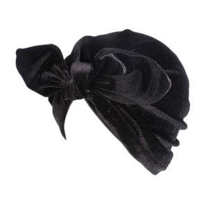 Image 2 - 뜨거운 새로운 여성 비니 모자 겨울 벨벳 토끼 귀 터번 모자 여성 소프트 벨벳 인도 모자 헤어 액세서리 두건의 Hairband
