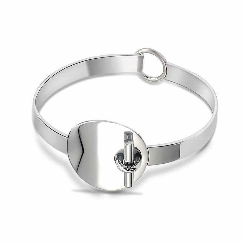 Geometryczny styl unikalne mankietów bransoletka dla kobiet Vintage Antique srebrny nadzwyczajne kształt luksusowe Trendy biżuteria akcesoria