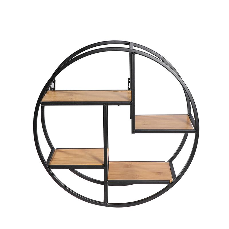 Wall Mounted Iron Shelf Round Floating Shelf Wall Storage Shelf for Pantry Living Room Bedroom Kitchen