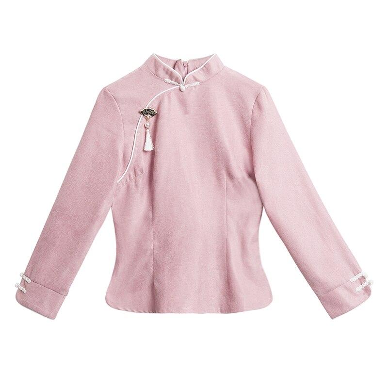 Azul Nuevo Viento China Blusa Tang Camisa Molesto Chino Arte Algodón 6213 Y Rosa Vintage rqrS7wB4