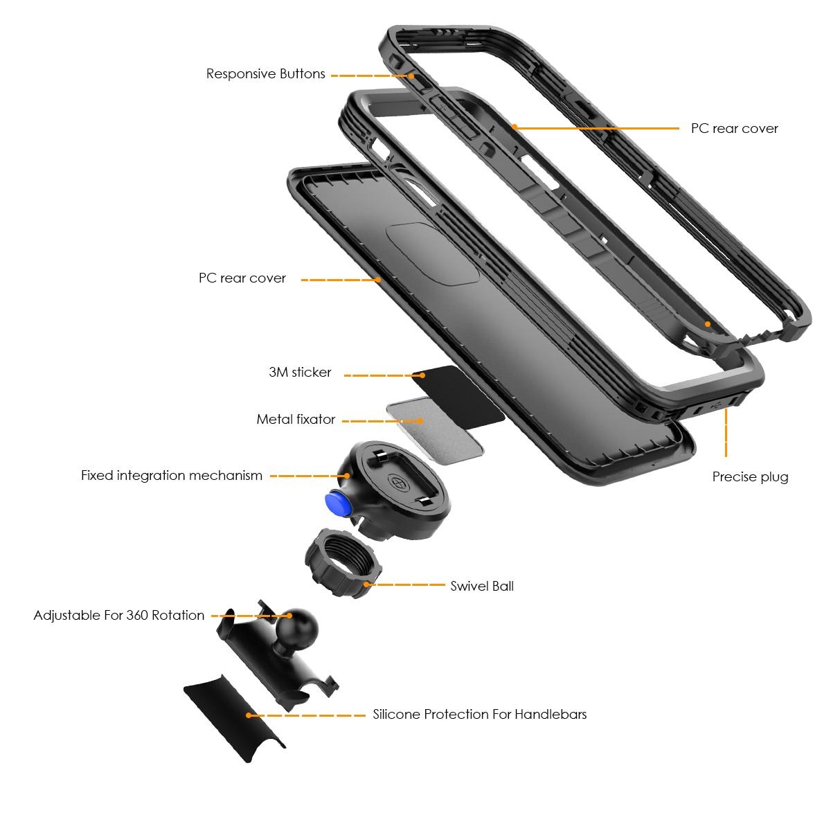 Image 3 - Bike Mount Phone Case For iPhone Xs Max Case Rotating Bicycle Handlebar Mount Holder phone cover For iPhone XS Max ShockproofFitted Cases   -