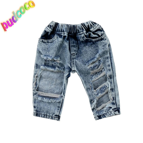 7e38ad44b4c 2019 Newborn Toddler Kid Baby Girls Ripped Hole Jeans Pants Outfits  Clothing Trousers