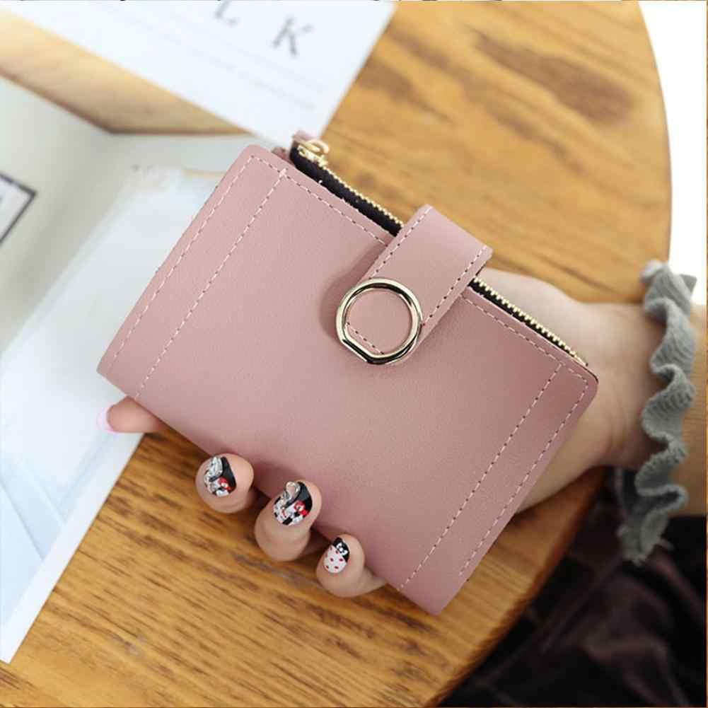 Frauen Leder Kleine Brieftasche Karte Halter Elegante Einfarbig Kurze Schöne Geldbörse Zip Geldbörsen Kupplung Handtasche Mode Geldbörse