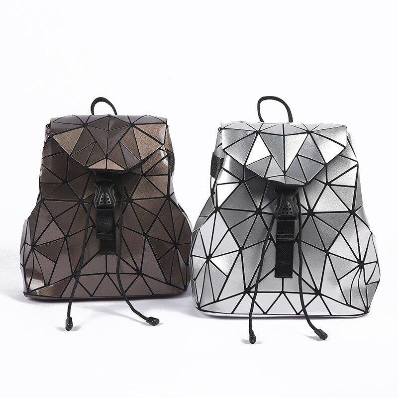Folded Women Backpack Sequin Femaleshoulderbag Girl Evening Luminous Packs Drawstring Schoolbag Geometric Plaid Rainbow Backpack