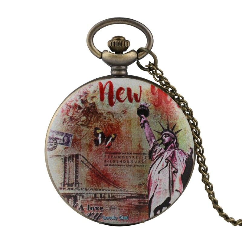 New York Statue Of Liberty Design Retro Pocket Watch Quartz Pendant Clock Gifts Full Hunter Fob Necklace Men Women Collectibles
