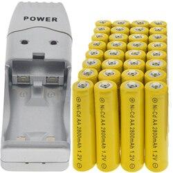 32 szt. AA NiCd 2800mAh akumulatory 1.2v lampa słoneczna żółta z ładowarką USB