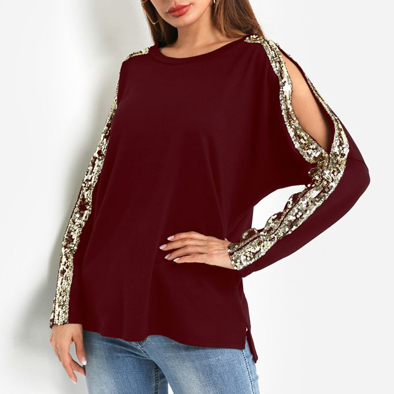 2019 Spring Chic Women Tops and Blouses Autumn Sexy Hollow out Casual Loose Sequins Tunic Shirts Long Sleeve Splice Blusas Femme