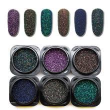 6 Boxes/Set Nail Glitter Laser Chrome Pigment Powder Dust Holographic Nail Glitter Powder Manicure Sand for Nails Art SF3053