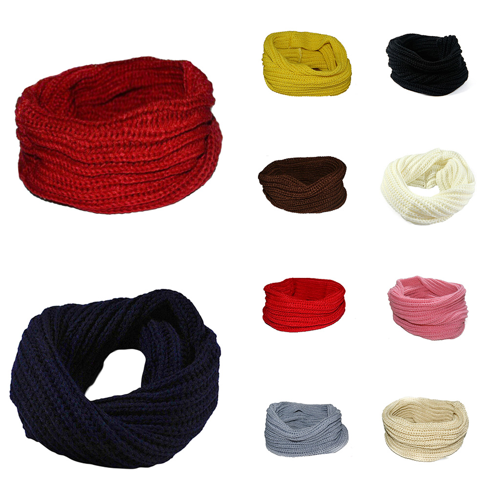 2018 Circle Neck Ring   Scarf   Warm Soft Red New Winter Acc Unisex Woolen Knit Single Circle Neck   Scarf   Shawl   Wrap   Winter Collar