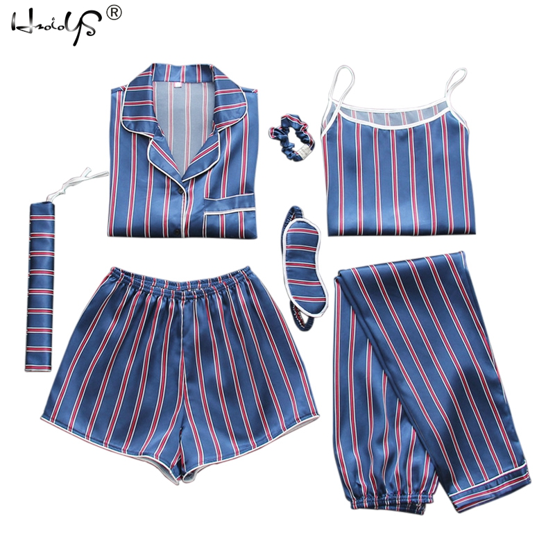 Sexy Spring Summer 7 Peices Pajamas Sets Women Silk Satin Pajama Set Soft Sleepwear Home Clothes Womens Pyjamas Suit