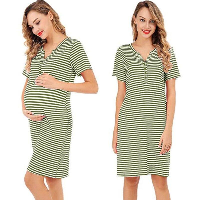 Lace Women Maternity Short Sleeve Striped Nursing Breastfeeding Sleepwear Dress