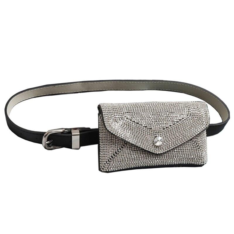 Diamonds Waist Bags Handy Detachable Crystal Belt Bags New Fashion Women Fanny Pack Phone Pouch Leather Belt Pack