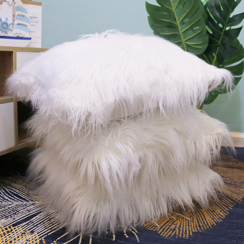 45x45cm Fluffy Cushion Cover Faux Fur Decorative Throw Pillow Case Solid Soft Plush For Sofa Car Chair Hotel Home Decoration