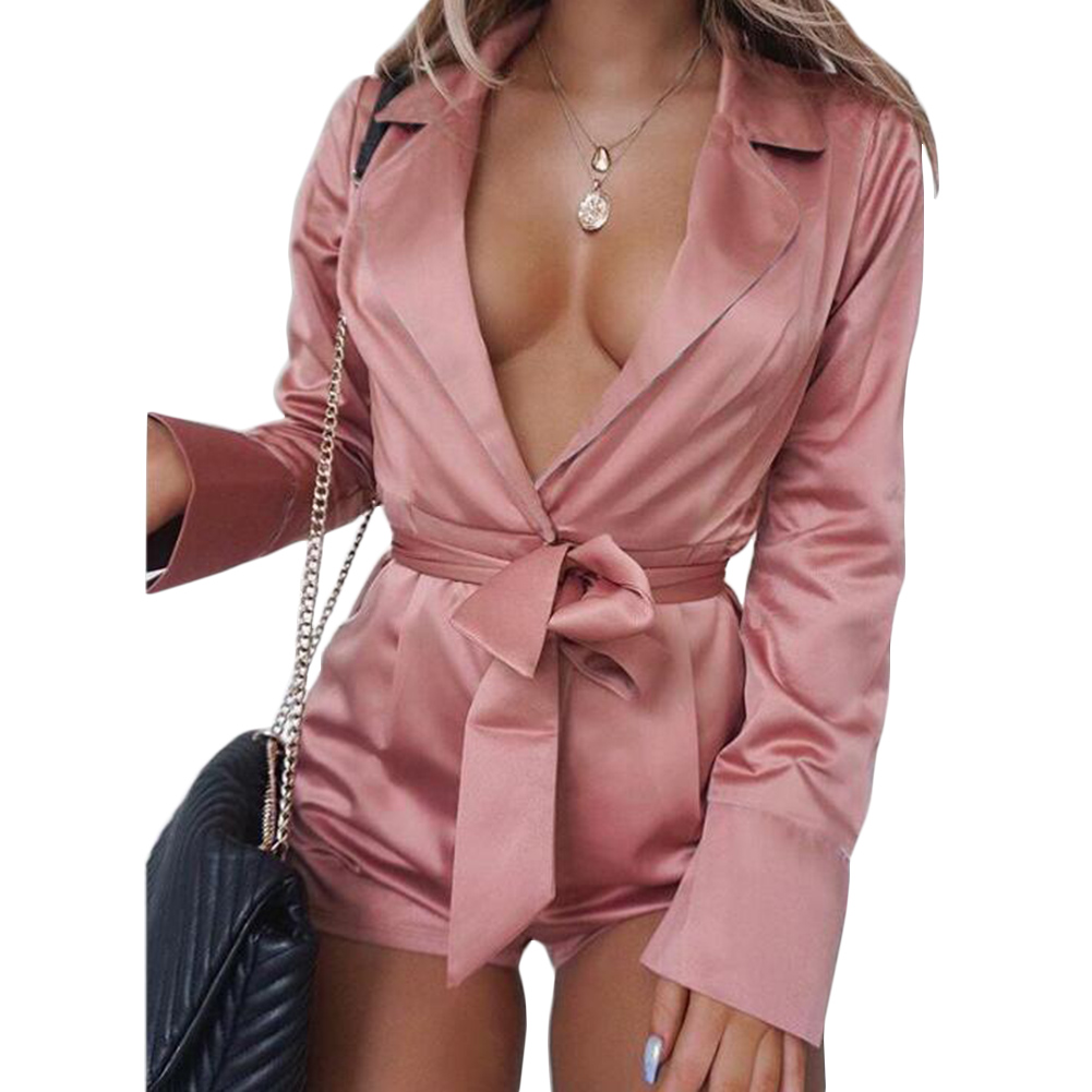 Women Summer Playsuits Long Sleeves Deep V Long Sleeve Bodycon Shorts Jumpsuit Rompers Sashes Sexy Spring Fashion Playsuits in Rompers from Women 39 s Clothing