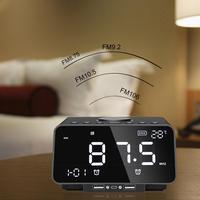 LED Screen Multi function Desktop Alarm Clock FM Radio With Wireless Bluetooth Speaker Player TF Card Play Music Alarm Clock