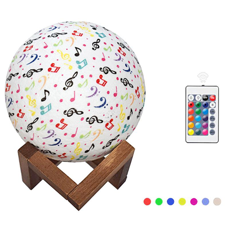 7 Color 3D Moon Light USB Rechargeable Painted Note Moon Lamp LED Night Light Lamp With Wood Holder for bedroom decoration
