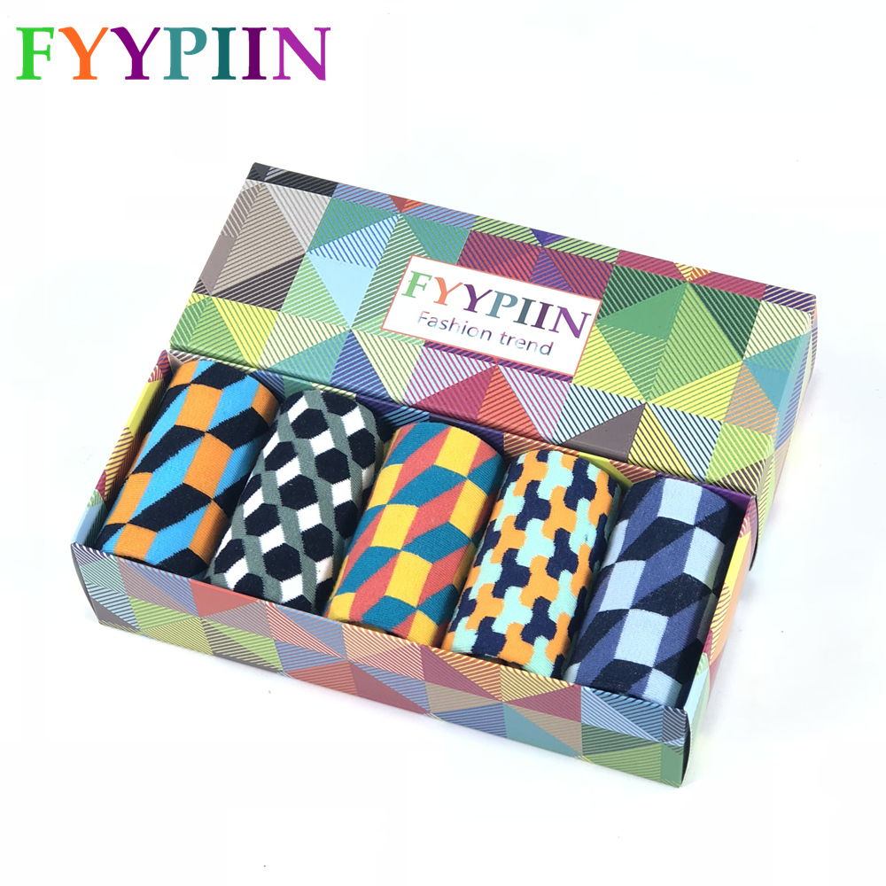 Socks Men Casual  Socks Real Time-limited 2020 Men's Gift Box Colorful Fashion Plaid Business Combed Cotton Socks
