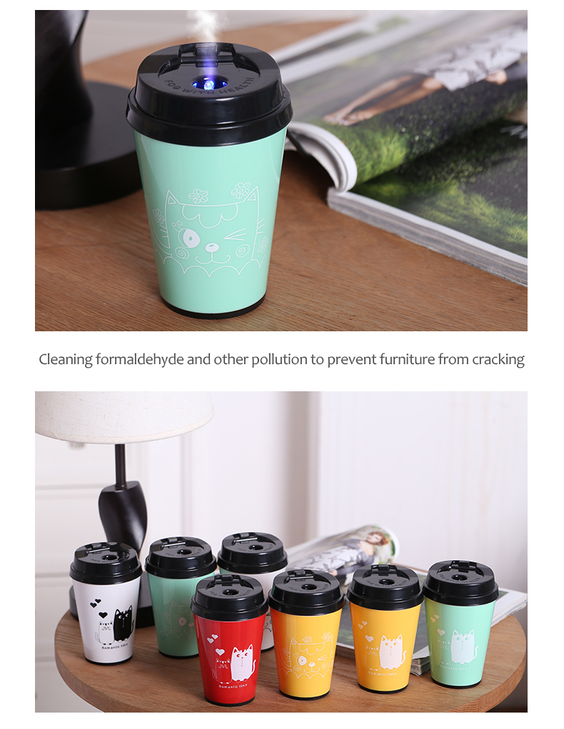 200ML Car Essential Oil Diffuser USB Mini Air Purifier with 7 Color Mood Light and Auto Shuts Off for Vehicle Cup Holder Office