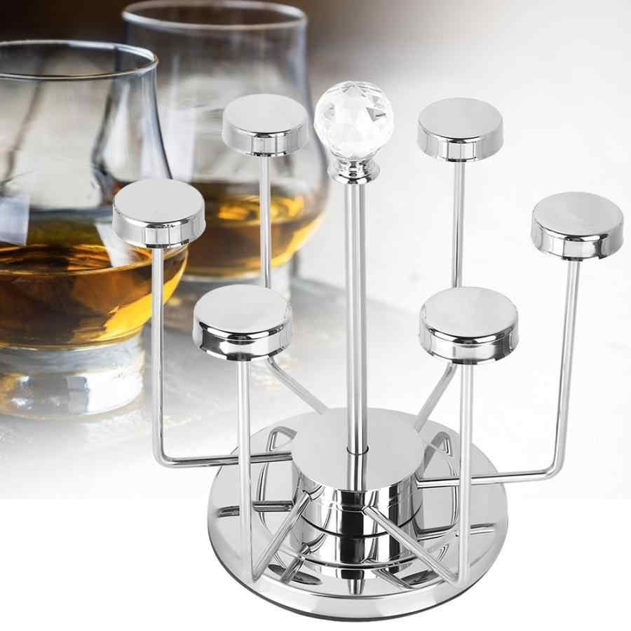 Giratorio copa del sostenedor del soporte de estante cromado Whisky cerveza, Vodka, vino taza de vidrio titular de cocina estante de vino Bar herramientas