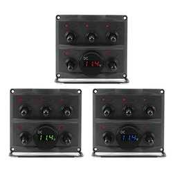 IP66 Водонепроницаемый 5 Gang светодио дный ON/OFF переключатель Панель с Вольтметр для автомобилей на колесах Лодка Грузовик Автомобильные