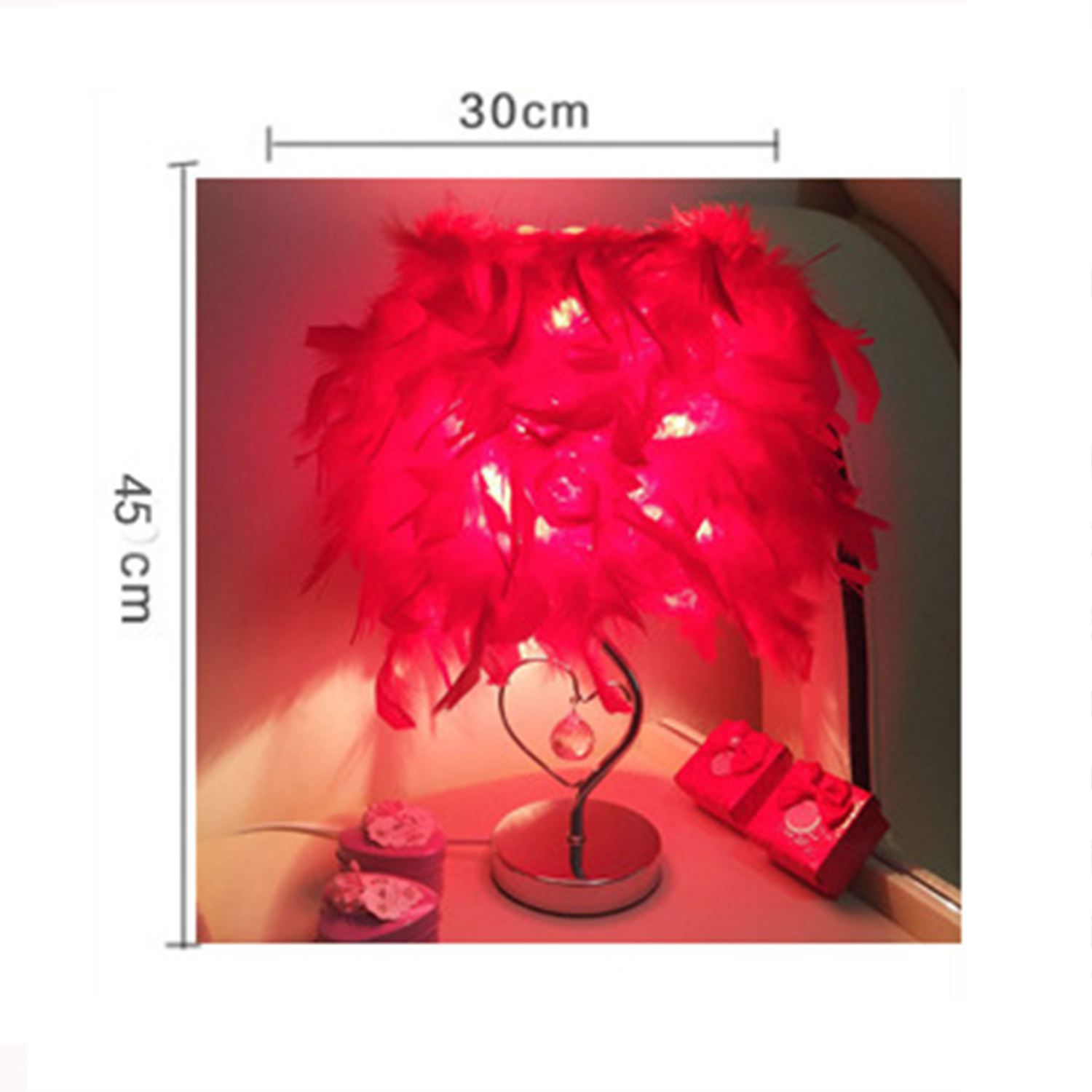 Bedside Reading Room Bedroom Sitting Room Heart Shape Feather Crystal Table Lamp Light EU plug Red in Desk Lamps from Lights Lighting