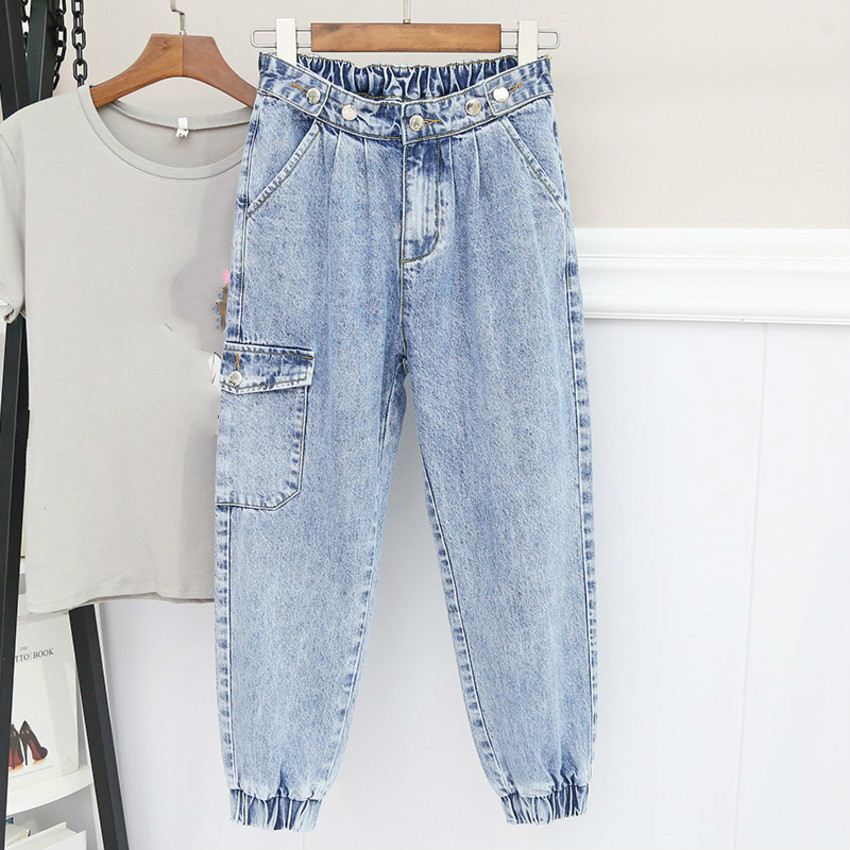 Spring Summer Women Blue High Waist Loose Washed Denim Jeans Female Harem Pants Trousers Boyfriend Jeans For Women Plus Size