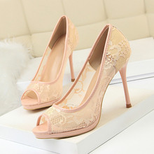 New Mesh Thin High Heel Pumps Spring Summer Women Red Butterfly-knot Woman Sexy Party Wedding Ladies Peep Toe Shoes DS-A0291 недорого