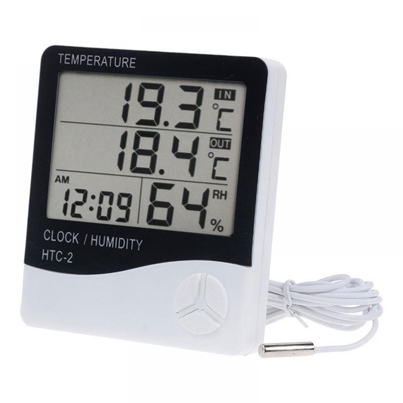 For HTC-2 LCD Digital Thermometer Hygrometer Indoor Outdoor Electronic Temperature Humidity Meter Clock Weather Station