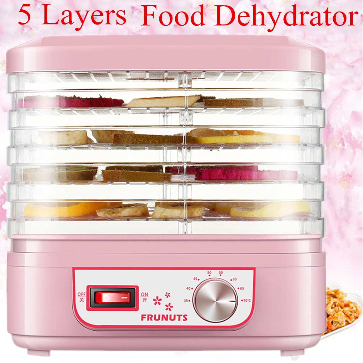 Food Dehydrator Fruit Vegetable Herb Meat Drying Machine Pet Snacks Food Dryer With 5 Trays 220V Kitchen AppliancesFood Dehydrator Fruit Vegetable Herb Meat Drying Machine Pet Snacks Food Dryer With 5 Trays 220V Kitchen Appliances