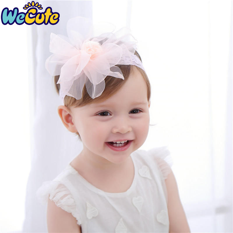 Girls' Baby Clothing Wecute Peony Lace Headband Childrens Hair Band Mesh Sand Ball Burning Edge Flower Baby Headband Infant Baby Girl Headwear Relieving Rheumatism And Cold