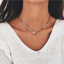 HOMOD 2019 Metal Sequins Choker Necklace Gold Color Opal Stone Pendant For Women Jewelry AD0584
