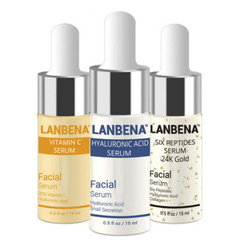 LANBENA Vitamina C + Seis Peptídeos do Soro 24 k Ouro + Ácido Hialurônico Soro Anti Envelhecimento Rugas Hidratante Clareamento Da Pele cuidados
