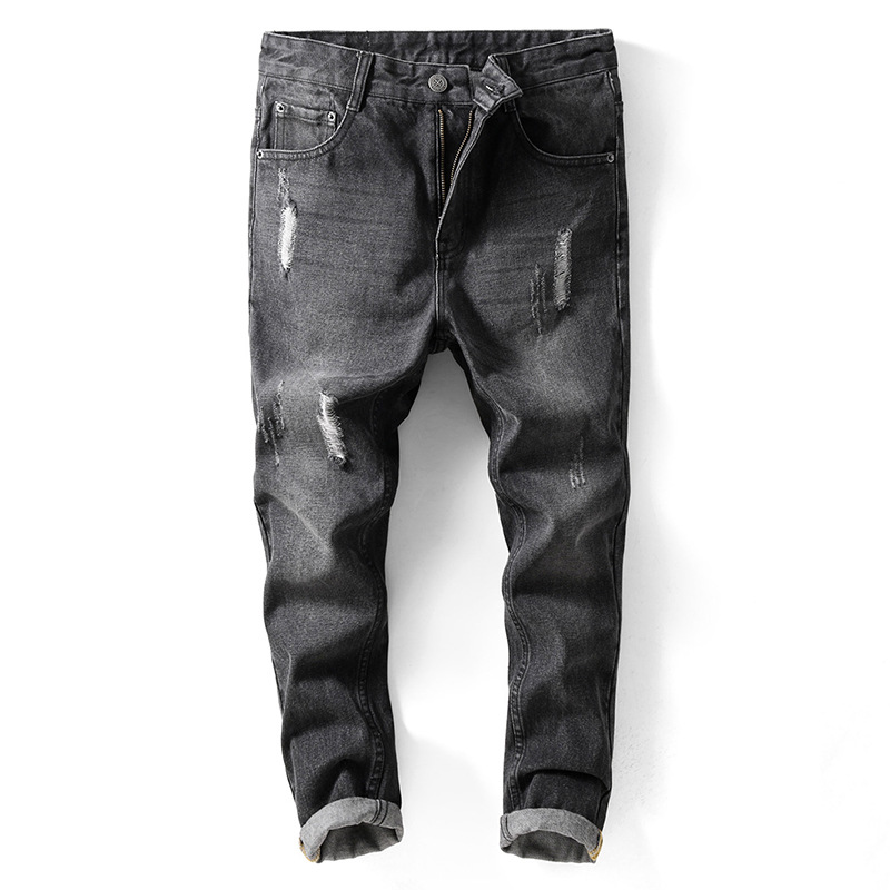 2018 Black Hole Jeans Male Korean Version of the Trend Worn Slim Feet Ripped Cropped Pants