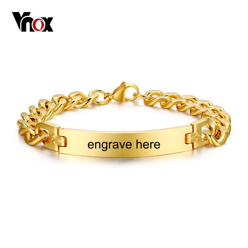 Vnox Stainless Steel Mens ID Bracelets Bangle Gold Color Curb Link Chain Spring Closure Customize Name Date Info Male Boy BijouxVnox Stainless Steel Mens ID Bracelets Bangle Gold Color Curb Link Chain Spring Closure Customize Name Date Info Male Boy Bijoux
