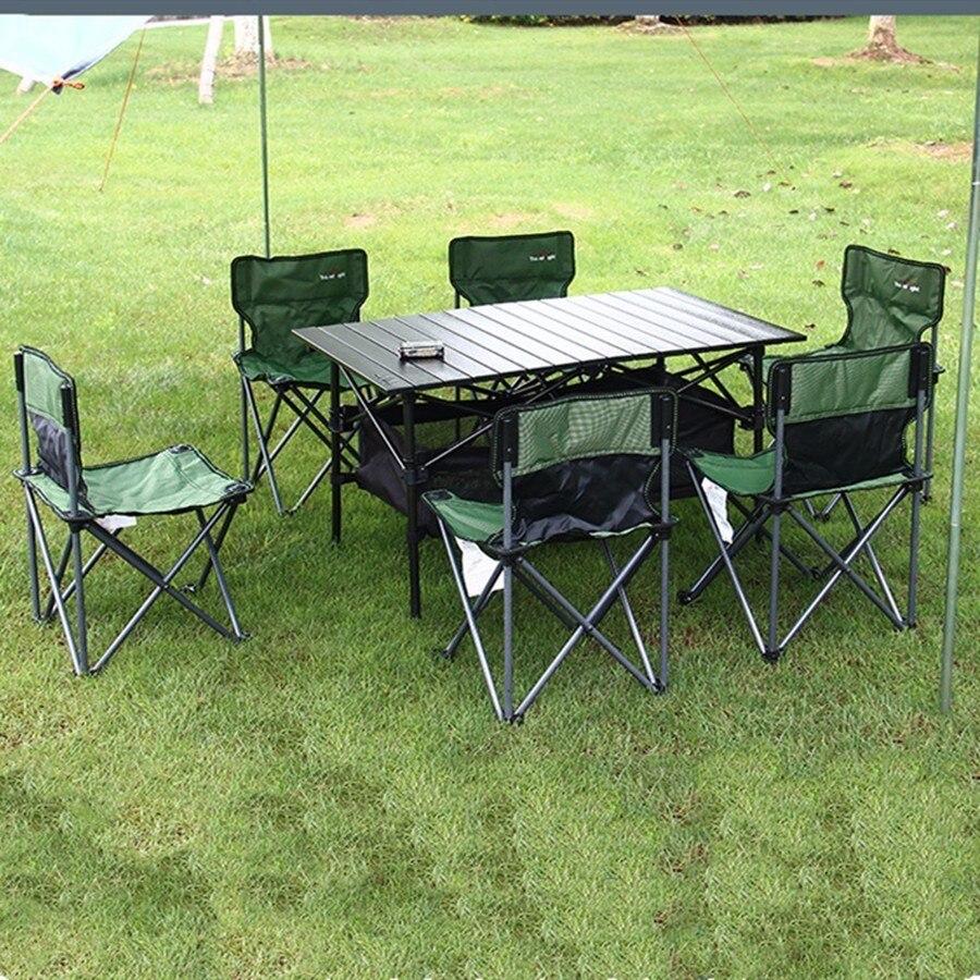 7 pièces Pli Tables Chaises Costume Extérieur Voyage Pêche Plage Barbecue Barbecue Pique-Nique Camping Depuis Circuit Matériel Outils En Alliage