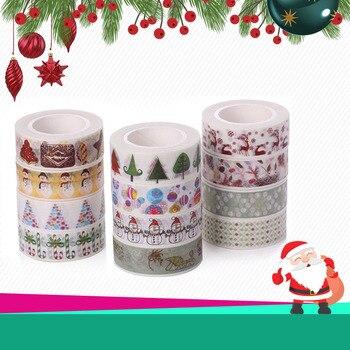 Christmas Tree Washi Tape Santa Claus Xmas Snowman Decorative Adhesive Masking Tapes For Scrapbooking Diy Albums School Supplies Клейкая лента