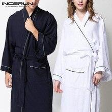 Women Men Robe Pajamas Long Sleeve Kimono Sleepwear Belt Sol