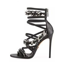 Hot Selling Black Leather Chain Decor Women Sandals Cut-out Peep Toe Cross Strap Summer Dress Shoes Plus Size Gladiator Sandal hot selling american and european sexy black leather sandals peep toe chain fringe amazing party dress shoes