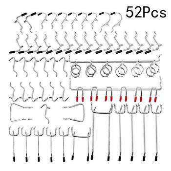 Crochets en métal pour planche à épissure   Crochets en métal pour accrocher des outils, organisateur de Garage, présentoir de magasin de stockage de 52 pièces