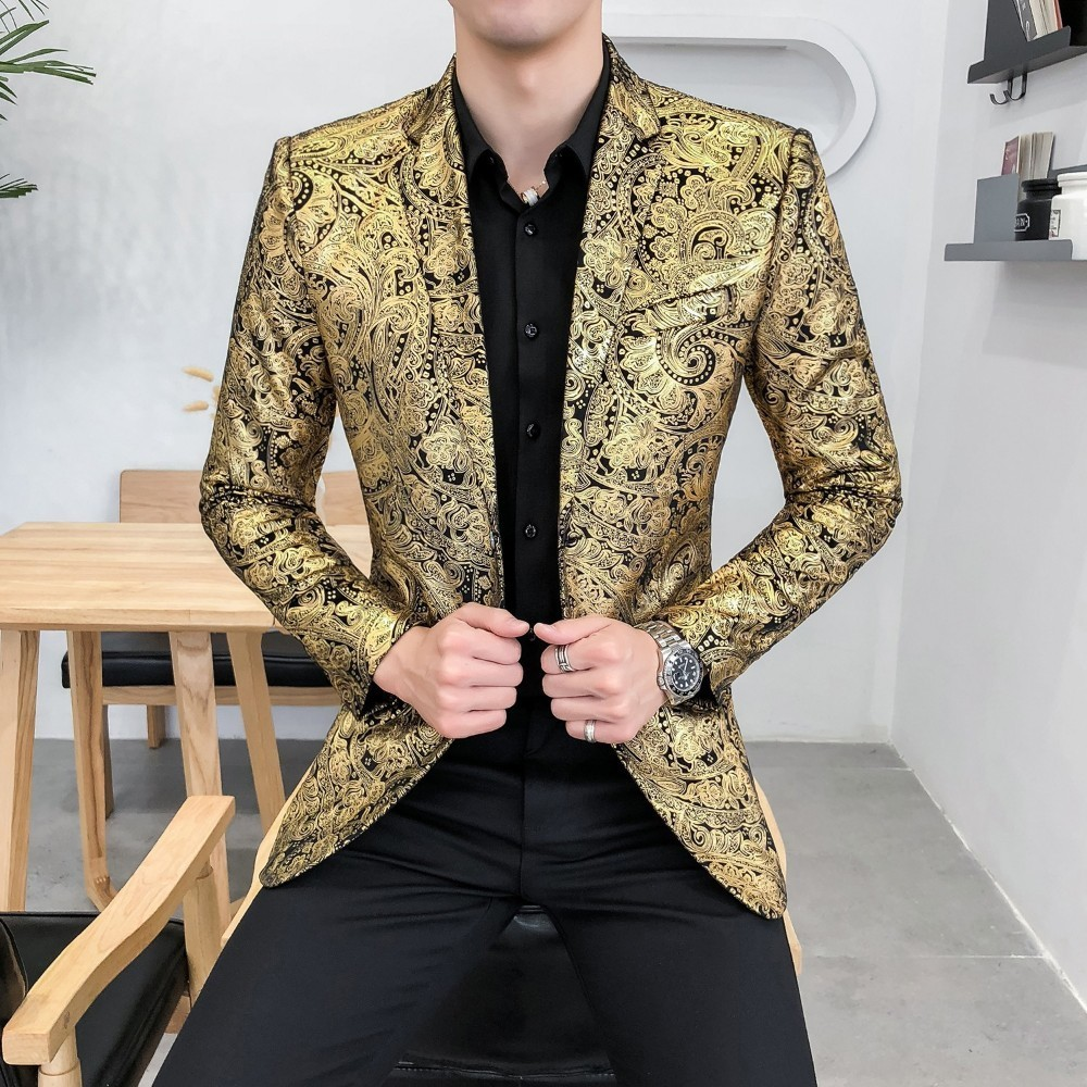 Tuxedo Formal Wear Slim Fit Blazer Masculino Blazer Men  Casual Streetwear Men Blazer Night Club Prom Mens Floral Blazer Jacket formal wear