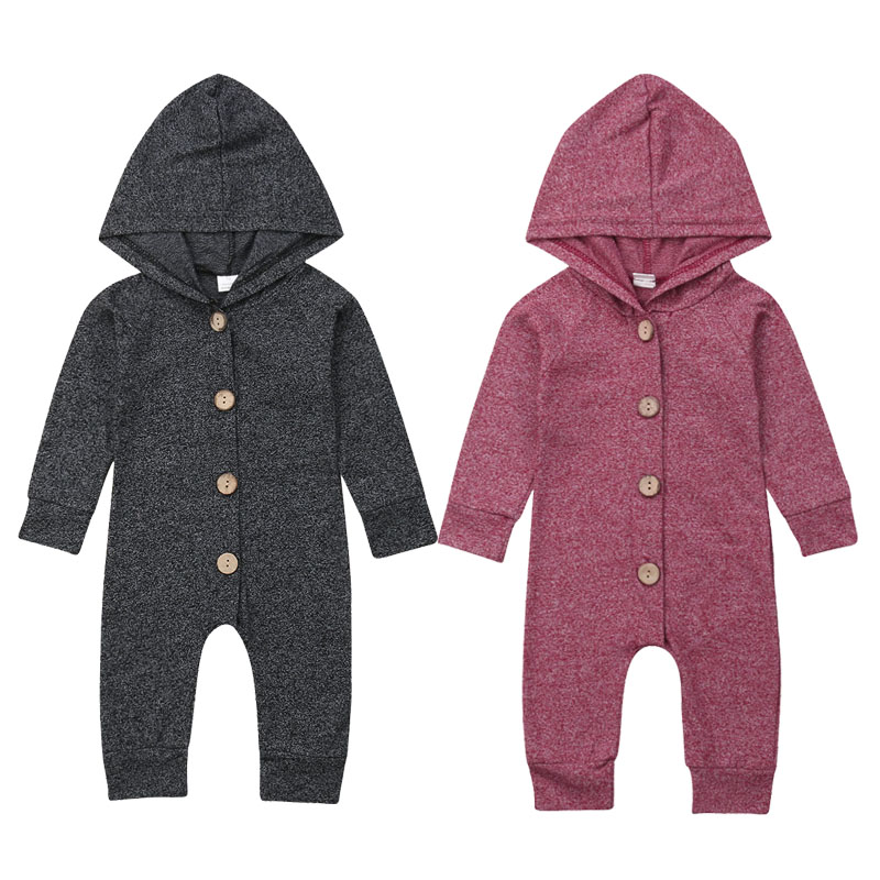 Cotton Newborn Baby Boy Girl Long Sleeve Button Solid Color Hooded   Romper   Jumpsuit Outfits Baby Clothes