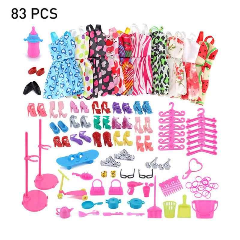 83 шт., комплекты одежды, 10 шт., юбки и 73 шт., аксессуары для Барби, куклы
