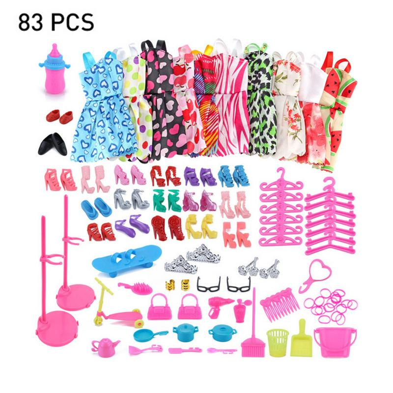 83 PCS Baby Dollls Outfits Clothes Set 10 PCS Skirts & 73Pcs Accessories For Children Girls Dolls