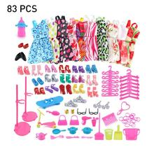 83 PCS Outfits Clothes Set 10 Skirts & 73Pcs Accessories for Barbie Dolls